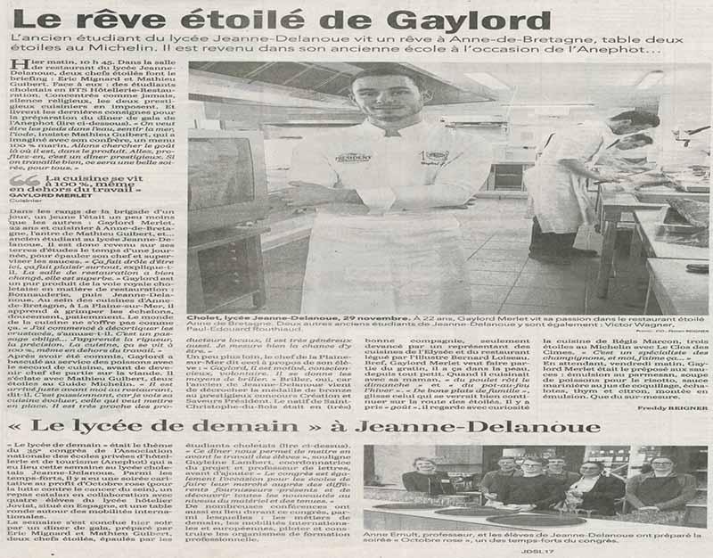 article sur la réussite de Gaylord MERLET