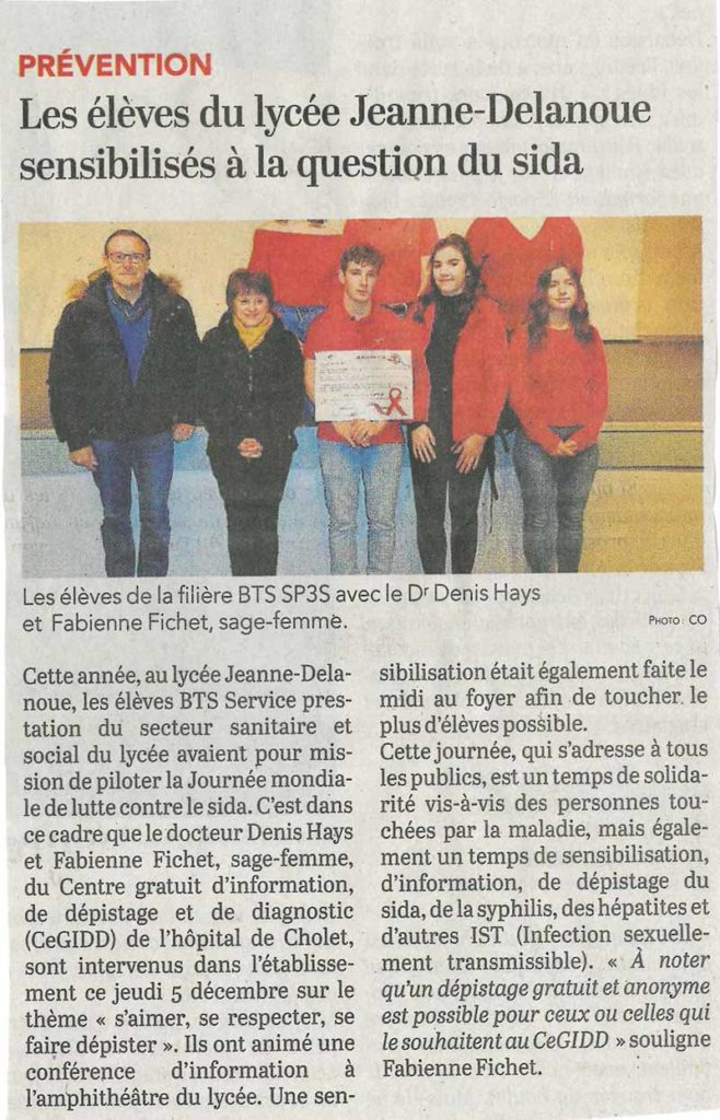 article sur intervention sidaction au lycée jeanne delanoue