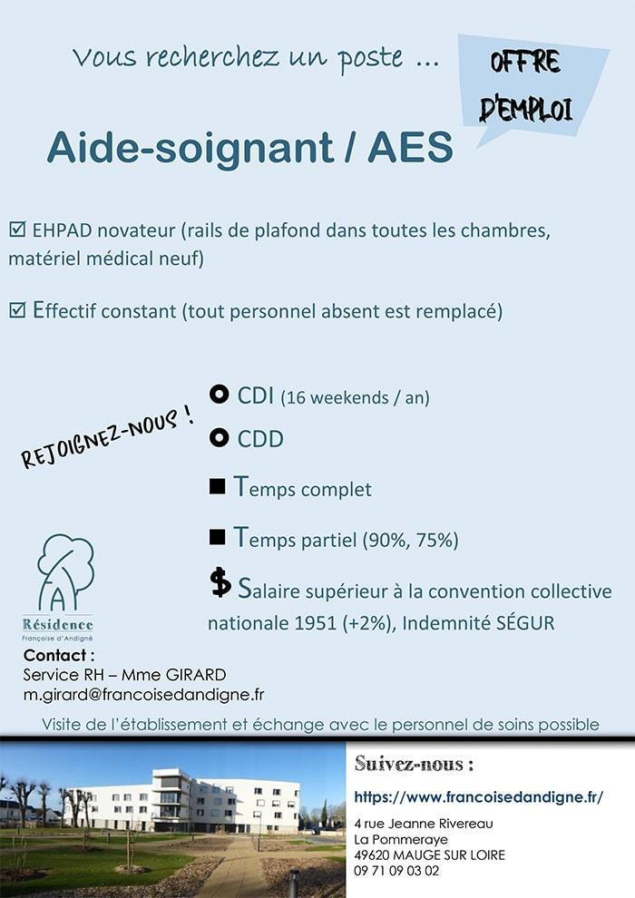 offre d'emploi aide soignant AES