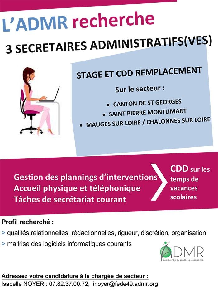offre d'emploi secrétaire administrative